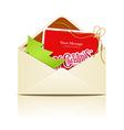Envelope letter merry christmas vector image