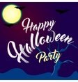 Happy Halloween Party Lettering with Spooky vector image