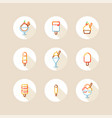 ice cream and popsicle circle icons vector image