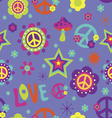 Love Peace Psychedelic seamless pattern vector image