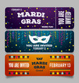 mardi gras brochures logo with hand drawn vector image