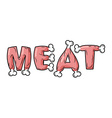 Meat lettring Steak on text of bones Pork vector image