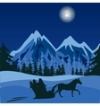 Winter night in mountain vector image