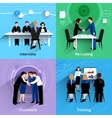 Human resources 4 flat icons square vector image