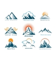 Mountain logo set vector image