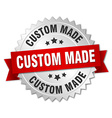 custom made 3d silver badge with red ribbon vector image