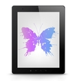 Tablet PC with butterfly grunge vector image