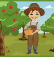 farmer little boy picking apples vector image