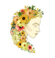 floral female portrait of young beautiful woman vector image