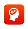 gear in head icon digital red vector image