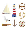 set of flat cartoon style nautical objects vector image