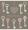 Vintage keys and keyhole in the shape of heart vector image