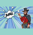 vintage retro clip art men cowboy bang sketch vector image