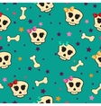 Seamless with bones and skull glamorous vector image