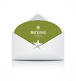 Envelope and green card merry Christmas isolated vector image
