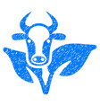 bull and plant icon grunge watermark vector image