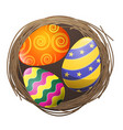colored eggs in bird nest isolated vector image