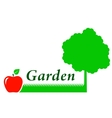 garden background with tree grass and fruit vector image