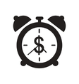 Flat icon in black and white alarm clock money vector image