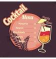 Alcohol cocktails drink menu card template vector image