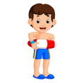 boy cartoon with inflatable ring vector image