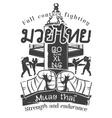 Kickboxing Print Muay Thai vector image
