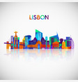 lisbon skyline silhouette in colorful polygonal vector image