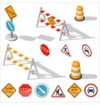 Road barriers and signs isometric detailed icon vector image