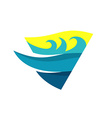 Sea waves and deep logo template triangle flag vector image