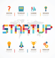 Startup Business design concept block alphabet vector image