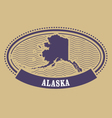 Alaska map silhouette - oval stamp vector image
