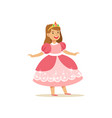 beautifull little girl princess in pink ball dress vector image vector image