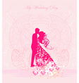 Floral greeting card with silhouette of romantic vector image