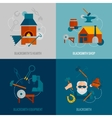 Blacksmith Flat Set vector image