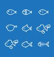 fish icon line vector image