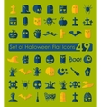 Set of halloween flat icons vector image