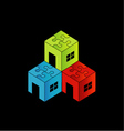 Colorful Logo for real estate market with a puzzl vector image