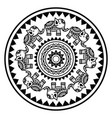indian mandala with elephants and abstract shapes vector image