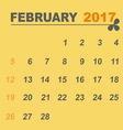 Simple calendar template of february 2017 vector image