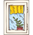 White Plastic Window with Yellow Curtain and Plant vector image