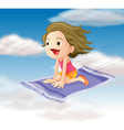 girl flying on mat vector image