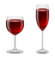 two glasses of red wine on white background for vector image vector image