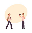 young man using smartphone walking making selfie vector image