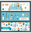 Medical banners design with dental equipment icons vector image vector image