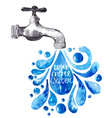 Watercolor faucet with water drops vector image