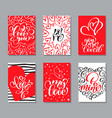 valentines day cards templates hand drawn vector image