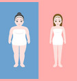 woman in towel in chubby and slim shape vector image