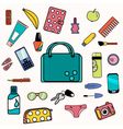 Woman bag content with smartphone cosmetics vector image