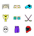 hockey competition icons set cartoon style vector image