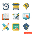 School and Education Flat Icons vector image vector image